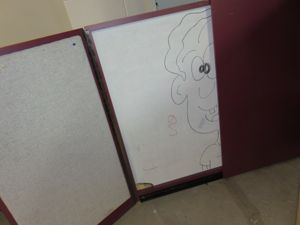 DESCRIPTION: 4x4 Dry Erase Board Cabinet (burgundy Laminate) LOCATION:  Basement